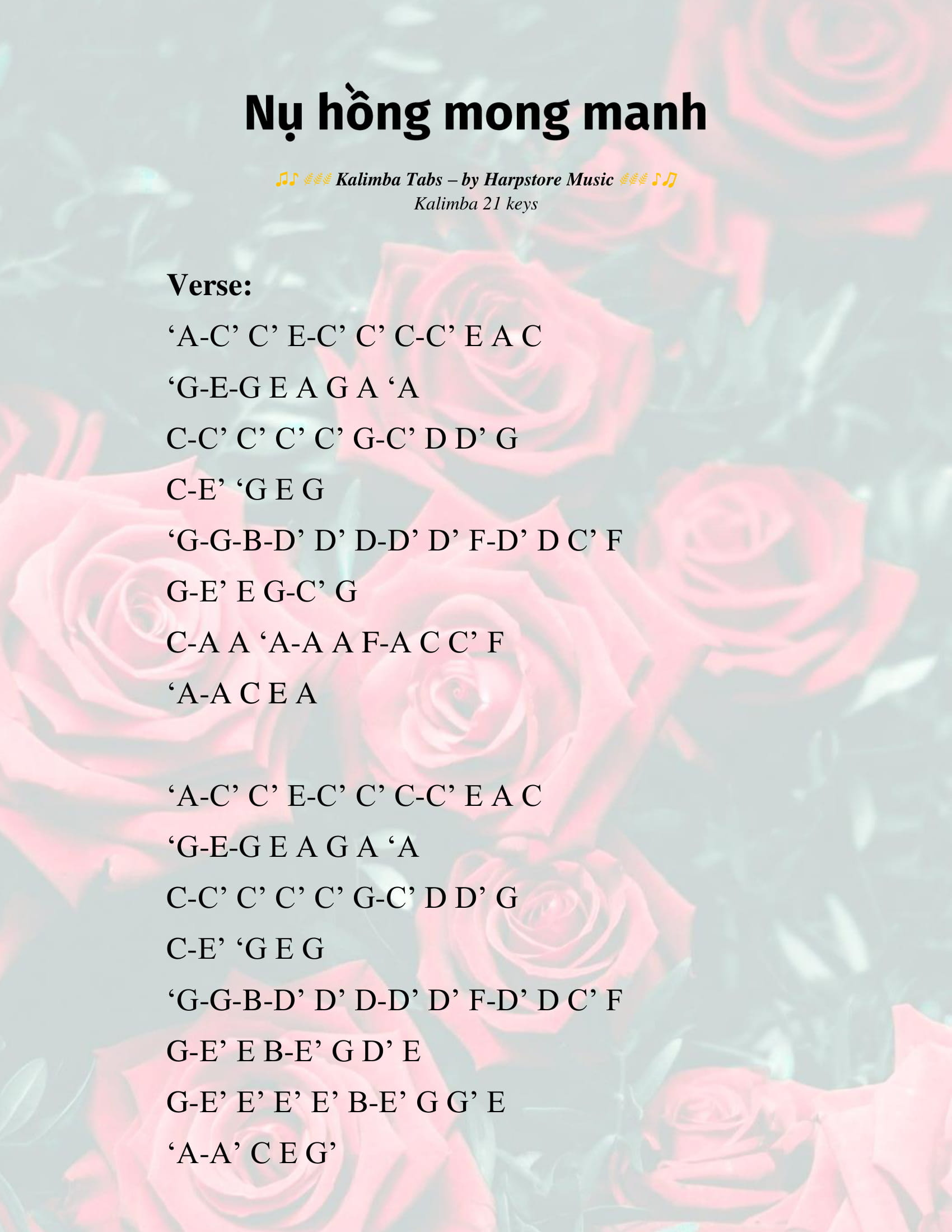 nụ hồng mong manh kalimba tab 1