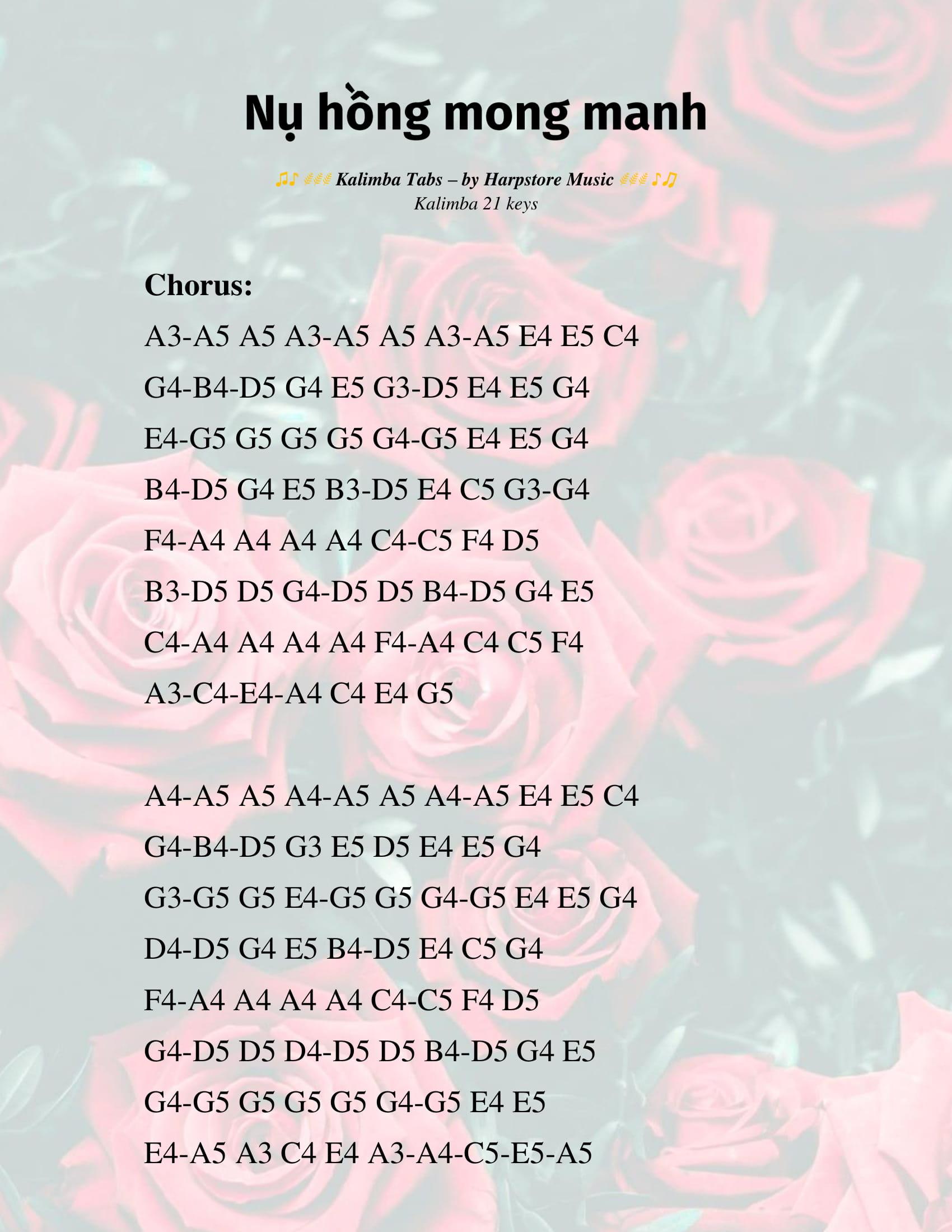 nụ hồng mong manh kalimba tab 2