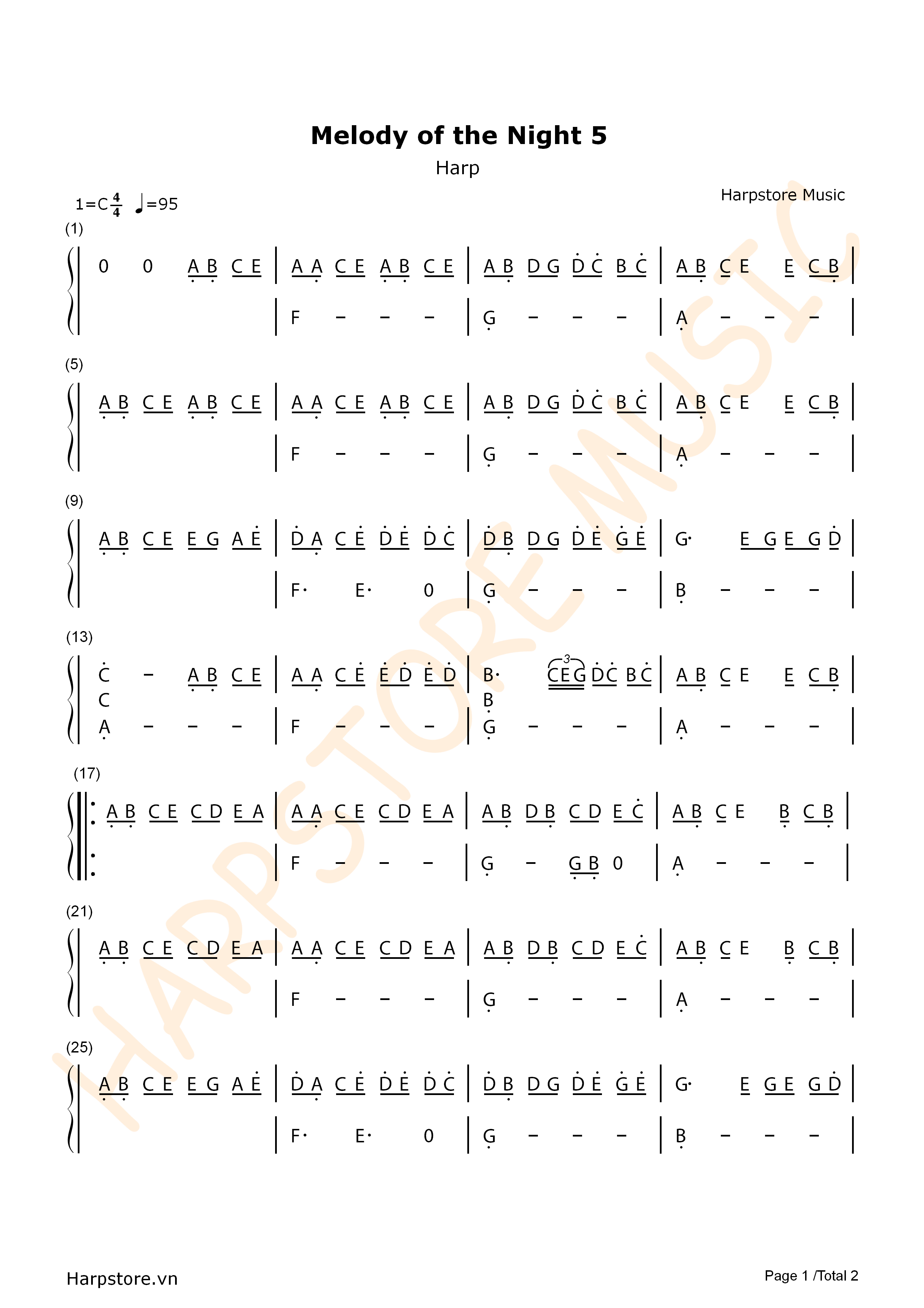 Melody of the Night 5 Harp Tabs