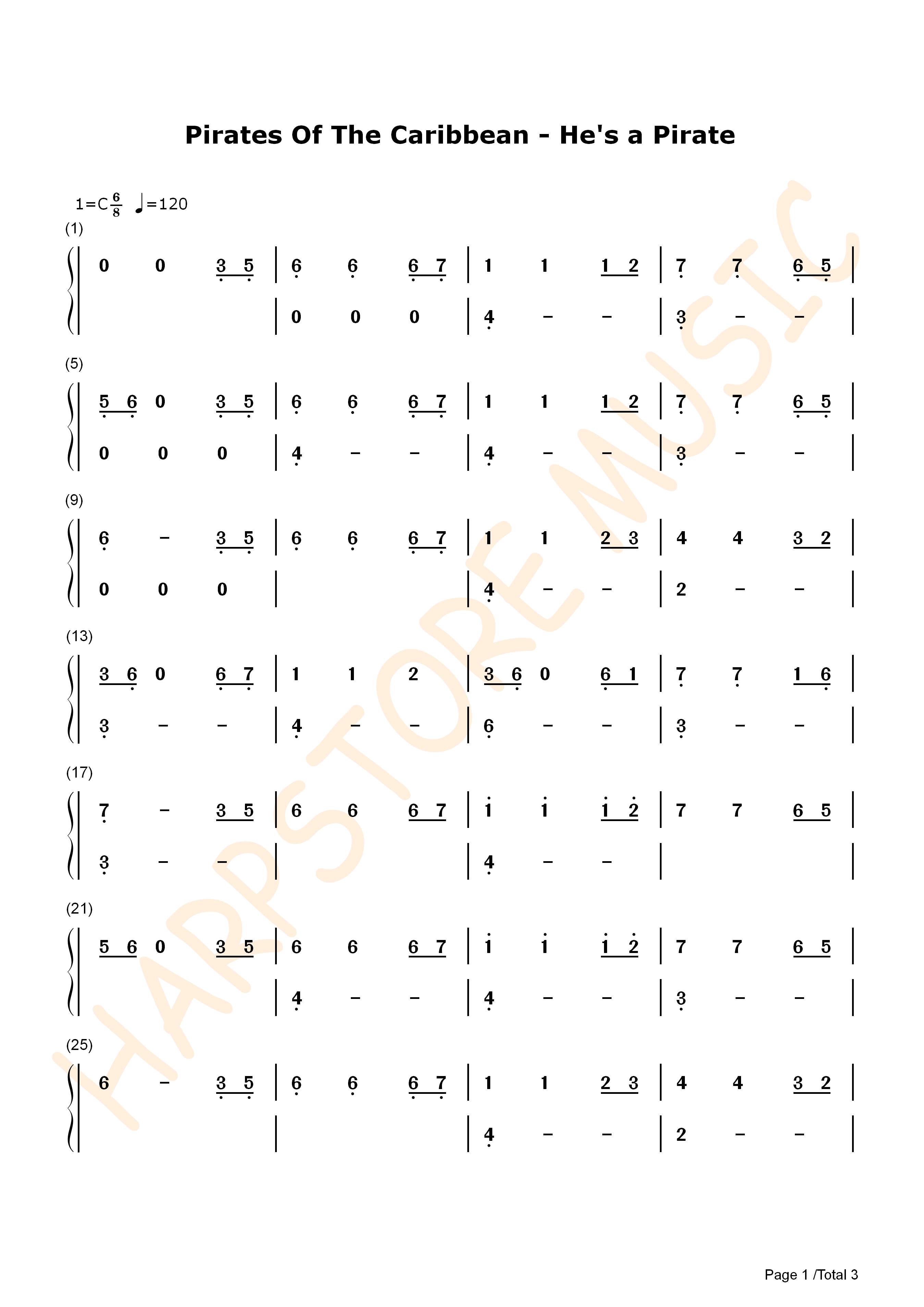 He's A Pirate TANK DRUM TABS 1