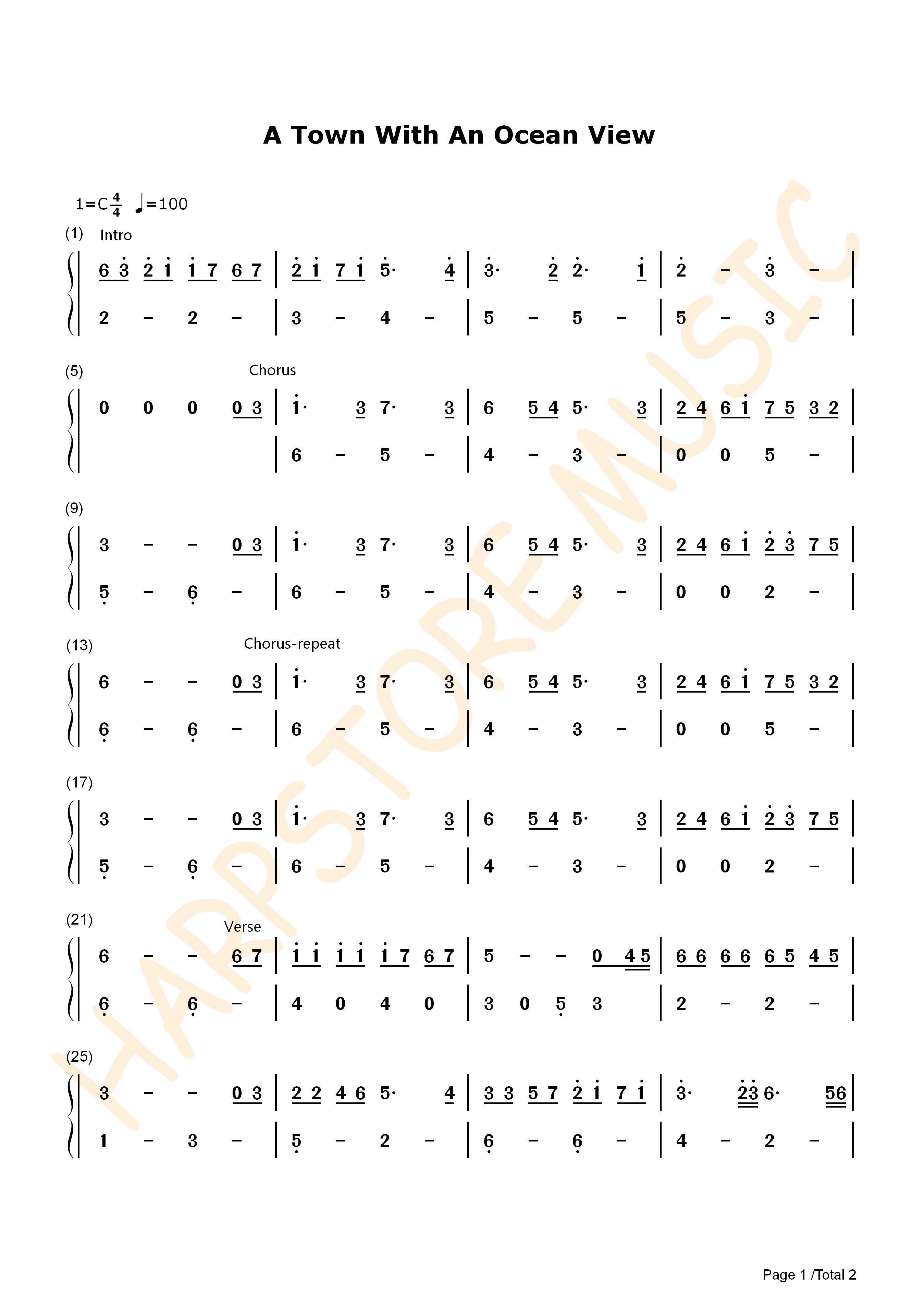 A Town With An Ocean View Lyre Tabs